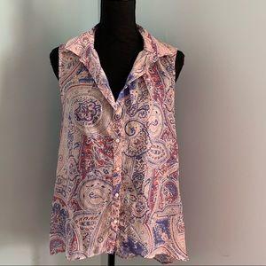 H&M shear sleeveless hi low top paisley